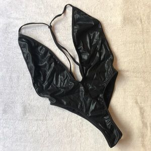 Other - Black Faux Leather High Waist Bodysuit